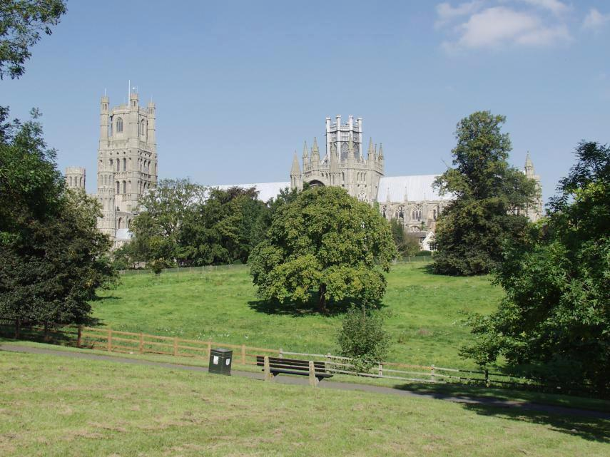 Ely Cathedral seen from Ely Park, Ely, Cambridgeshire, England